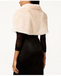 Tahari   Pink Faux-fur Caplet Shawl   Lyst