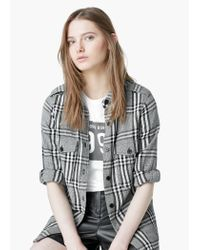 Mango - Gray Check Cotton Shirt - Lyst