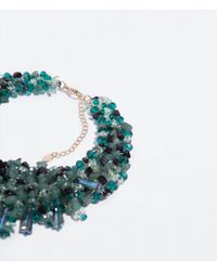 Zara | Green Rhinestone Necklace | Lyst