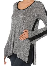 AKIRA - Gray Faux Leather Sleeve Marled Grey Top - Lyst