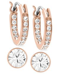 Swarovski | Pink Rose Gold-tone Crystal Hoop And Round Stud Earring Set | Lyst