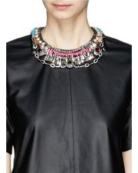 Venna | Multicolor Crystal Pendant Spike Fringe Necklace | Lyst