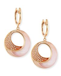 Frederic Sage - Small Pink Mother-of-pearl & Diamond Venus Twist Earrings - Lyst