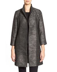 Eileen Fisher - Gray High Collar Jacquard Coat - Lyst