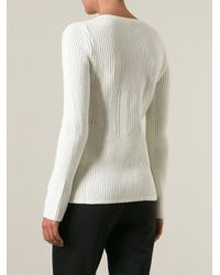 Jil Sander Navy - White Ribbed Round Neck Sweater - Lyst