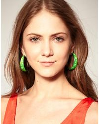 ASOS Collection - Green Limited Edition Big Spots Coloured Hoop Earrings - Lyst