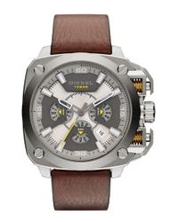 DIESEL - Brown 'bamf' Chronograph Leather Strap Watch for Men - Lyst