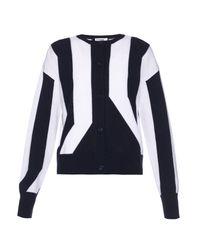 Jil Sander | Blue Striped Intarsia-knit Cashmere Cardigan | Lyst