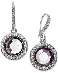 INC International Concepts | Metallic Silver-Tone Pavé Stone Drop Earrings | Lyst