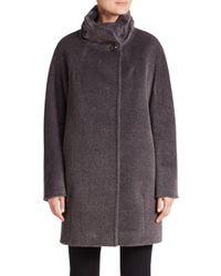 Cinzia Rocca - Gray Llama & Wool Blend Coat - Lyst