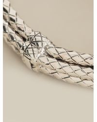 Bottega Veneta - Metallic Layered Intrecciato Embossed Cuff - Lyst