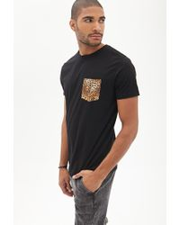 Forever 21 - Black Cheetah Pocket Tee for Men - Lyst