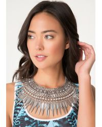 Bebe | Metallic Metal Leaf Necklace | Lyst