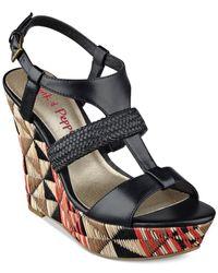 Pink And Pepper - Black Pink & Pepper Desired Platform Wedge Sandals - Lyst