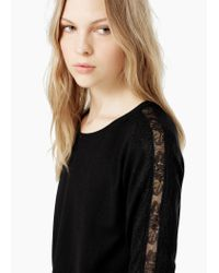 Mango - Black Lace Panels Sweater - Lyst