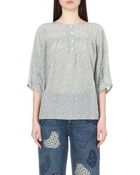 M.i.h Jeans - Gray Geometric-print Silk Top - Lyst