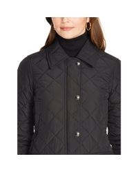 Ralph Lauren | Black Diamond-quilted Full-zip Coat | Lyst
