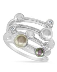 Majorica   White Sterling Silver Multicolor Organic Man Made Pearl Ring   Lyst