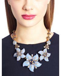 Oscar de la Renta | Metallic Periwinkle Resin Flower Necklace | Lyst
