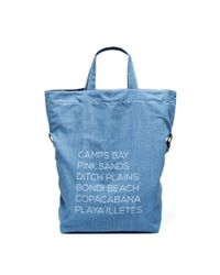 Soludos - Blue Simple Tote Big Beach Bag Large Pouch Fold Over Clutch - Lyst