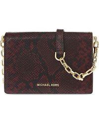 MICHAEL Michael Kors | Purple Brink Medium Python-effect Leather Shoulder Bag, Women's, Merlot | Lyst
