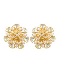 Kastur Jewels - Metallic Heritage Flower Pearl & Crystal Earrings - Lyst