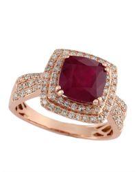 Effy | Red 14kt Rose Gold Ruby Diamond Ring | Lyst