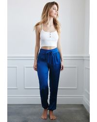 Forever 21 - Blue Drawstring Satin Joggers - Lyst