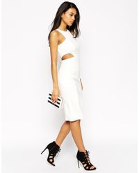 ASOS - White High Neck Cut Out Dress - Lyst