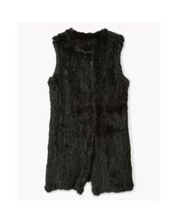 Theory | Black Rabbit Fur Long Vest | Lyst