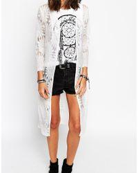 Club L - Natural Longline Kimono In Sunflower Lace - Lyst