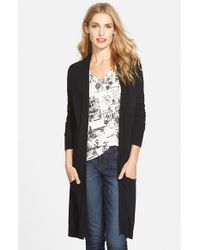 Halogen | Black Long Open Cardigan | Lyst