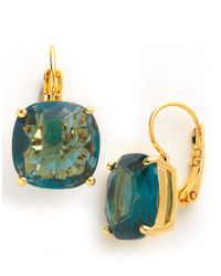 kate spade new york - Green Small Square Solitaire Drop Earrings - Lyst