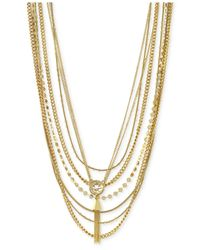 Vince Camuto | Metallic Gold-Tone Layered Tassel Necklace | Lyst