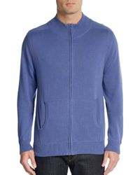 Saks Fifth Avenue | Blue Mockneck Zip Sweater for Men | Lyst