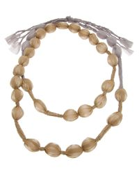 Pleats Please Issey Miyake - Natural Covered Bead Necklace - Lyst