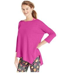 Betsey Johnson | Purple Three-quarter-sleeve Acid Wash Asymmetrical Hem Tee | Lyst