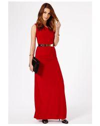 Missguided - Red Estera Slinky Split One Shoulder Belted Maxi Dress  - Lyst
