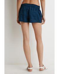 Forever 21 - Blue Linen Drawstring Shorts - Lyst