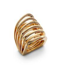 Vita Fede - Metallic Futuro Pavã© Crystal Cut Ring/goldtone - Lyst
