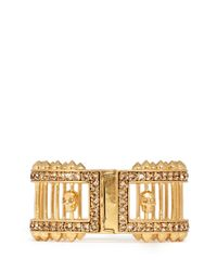 Alexander McQueen | Metallic Stud And Bar Embellished Skull Bangle | Lyst