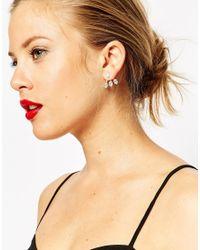 ASOS - Metallic Crystal Swing Earrings - Lyst