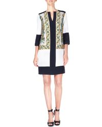 Etro - Black Embroidered Silk-cady Tunic Dress - Lyst