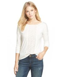 Caslon - White Lace Inset Long Sleeve Tee - Lyst