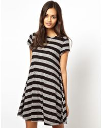 Glamorous | Black Swing Dress in Flecked Jersey Stripe | Lyst