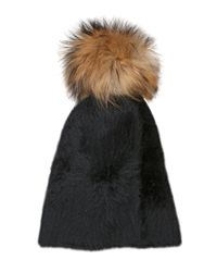 Kreisi Couture | Black Papalina Shearling Hat With Pompom | Lyst