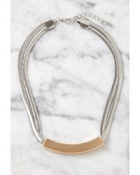 Forever 21 | Metallic Curved Matte Pendant Necklace | Lyst