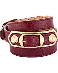 Balenciaga - Red Metallic Edge Double Tour Wrap Bracelet - Lyst