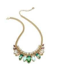 Juicy Couture - Green Crystal Bib and Curb Chain Necklace - Lyst
