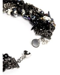 Assad Mounser | Black Crystal Pendant Multi-strand Bead Necklace | Lyst